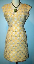 Vintage Lilli Diamond Fitted Wiggle Beige Tapestry DRESS 3/4 Bombshell Mod RETRO