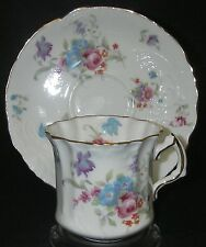 CUP SAUCER Hammersley 6072 Bone China England flat Embossed Floral Pink Blue
