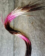 Feather hair extensions Pink Neapolitan black ombre ghost grizzly X LONG beads