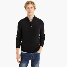 NEW $120 J CREW THERMAL COTTON HALF BUTTON PULLOVER SWEATER - BLACK - SIZE XXL
