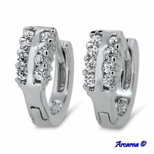 Lab-Created Excellent Sterling Silver Fine Diamond Earrings