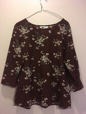 Temt Brown Floral Long Sleeve Top Size 14