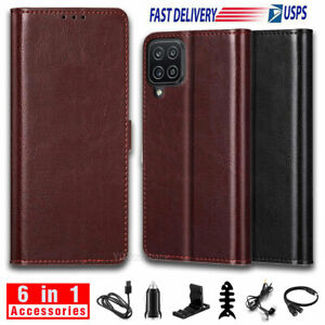 For Samsung Galaxy A12 Case Leather Wallet Card Slots Stand Cover W/ Accessories