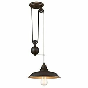 Westinghouse 6363200 Iron Hill 1-Light Pulley Pendant, Oil Rubbed Bronze Finish