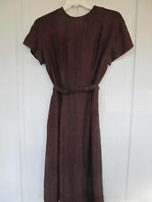 1950s Brown and Black Plaid Wool Womens Wiggle Sheath Dress w/ Belt - Cute!