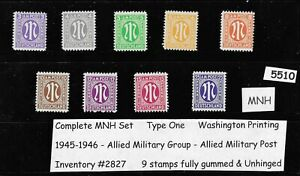 #5510     Complete MNH 1945 Stamp set / Occupied Germany / Allied Military Post