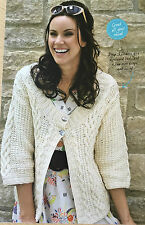 KNITTING PATTERN Ladies Cable Patterned Cardigan 3/4 Sleeved Rowan PATTERN