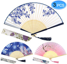 Folding Hand Held Fan With Fabric Sleeve And Bamboo Frame Durable White 3 Pack