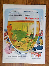1956 Budweiser Beer Ad Yatch Sailing Race in a Glass Bud King of Beers