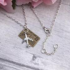 Traveller NECKLACE Holiday Leaving GIFT Silver Bronze PLANE Postcard Pendant 18""