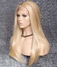 Human hair blend Full Lace Front Wig Straight Blonde Mix Heat OK 613-27 WBDA