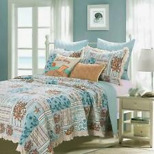Coastal Beach Ocean Seashell Tropical Nautical Blue Green Teal Set Twin