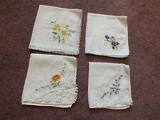 Ladies Handkerchief Set 4 Embroidered Lace Purples Orange Gold Green Nice
