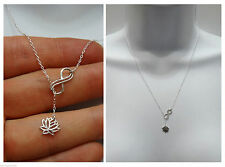 New 925 STERLING SILVER Double Infinity Lotus Flower Lariat pendant Necklace