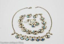Hermann Siersbol mid century Danish sterling jewellery set blue rhinestones