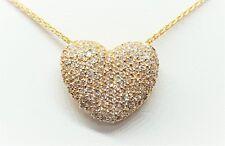"Designer Sonia Bitton 14K Yellow Gold Diamond Heart Slide Pendant Necklace 18"""