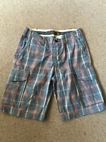 BLUE PINK CHECKED SHORTS  EUR 31 MENS H&M SUMMER TOWIE SPORT FOOTBALL GYM CYCLE