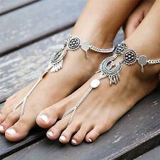 Beach Fashion Tassel Toe Ring Ankle chain Bracelet Chain Link Foot Jewelry