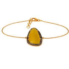 Yellow Moonstone 925 Silver Gemstone Jewelry Designer CZ Chain Bracelet