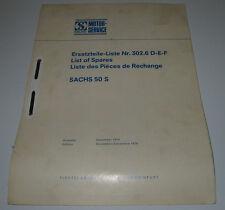 Ersatzteilliste Sachs 50 S List of Spares Liste des Piéces de Rechange 12/1974!