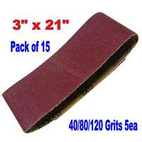 "15x Mix 3"" x 21"" Sanding Belts Aluminium Oxide 40/80/120 Grit Sander Abrasive"