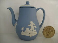 RARE WEDGWOOD BLUE JASPER MINIATURE TINY LIDDED COFFEE POT DOLLS HOUSE SIZE SET