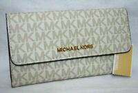 MICHAEL KORS JET SET TRAVEL LARGE TRIFOLD MK SIGNATURE WALLET VANILLA