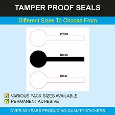 Lollipop shaped security seals - 3 sizes - permanent adhesive