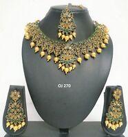 Indian Fashion Jewelry Wedding CZ Bridal Pearl Necklace Earrings Sets OJ 270