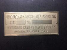 NEW Wonder Cement Waterloo Brass data Tag Antique Gas Engine Hit Miss