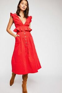 NEW FREE PEOPLE RED LOVE FOOL RED CORD PEPLUM TOP A-LINE SKIRT 2PC SET SZ 10