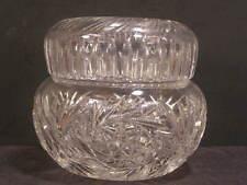 Lg Victorian Cut Abp Crystal Glass Powder Jar Trinket Dresser Jewelry Vanity Box