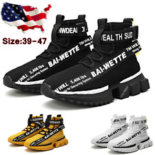 Mens Sneakers Fashion Breathable High Top White Casual Men Shoes Tenis