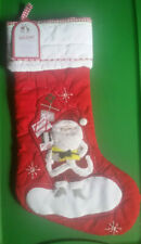 Pottery Barn Kids JOLLY SANTA WITH PRESENTS Quilted Christmas Stocking