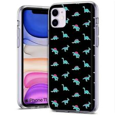 Thin Gel Phone Case for Apple iPhone 11,XS,XR,8,Cute Dinosaurs Stickers  Print