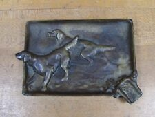 Antique Bronze Pair Hunting Pointer Dogs Decorative Art High Relief Ashtray Tray