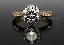 Solitaire 2.1 CT Engagement Ring VVS/D Wedding Her Real Yellow 14K gold promise