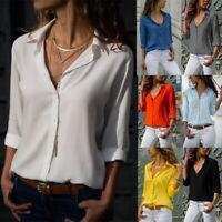 Women Casual Tops Long Sleeve Blouse Chiffon V-neck Clothing Shirt Fashion S-8XL