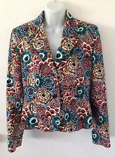 HARVE BERNARD Bold Vintage Floral Multi-Colored Blazer Size 8 Petite
