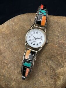 Turquoise SPINY Sterling Silver Womens Inlay Watch Tips Navajo Jewelry Rare 2530