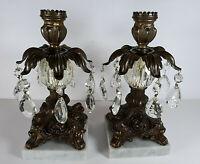 "Vtg 2 Ornate Brass Candle Stick Holders Marble Base 7 Crystal Prisms Glass 9"""