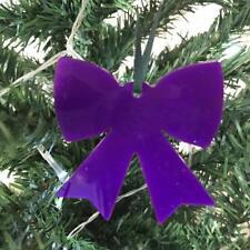 violet noeud forme Décorations ARBRE DE NOËL & satin vert ruban, Paquet 10