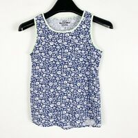 Crewcuts J.Crew Girls Floral Print Sleeveless Tank Top Shirt Blue White Size 8