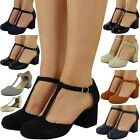 Womens Ladies T-Bar Shoes Buckle Strap Office Work Comfy Low Mid Heel Court Size