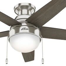 "Hunter 46"" Modern Low Profile Ceiling Fan in Brushed Nickel with LED Light Kit"