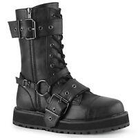 Demonia VALOR-220 Mens Black Vegan Leather Platform w/ Zip Lace-Up Mid-Calf Boot