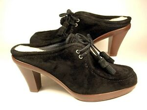 UGG AUSTRALIA WOMEN SOPHIA HEELS SIZE 7 BLK SUEDE NEW AUTHENTIC FREE SHIP U.S.