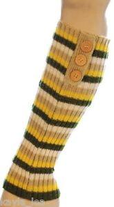 3 Button Stripe Shimmer Acrylic Leg Warmers 4 Colors Boot Cuff Socks