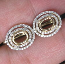 5×7MM Oval Cut Solid 14K Yellow Gold Natural Diamonds Semi Mount Earrings
