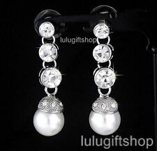 DIAMANTE CRYSTAL WHITE GOLD PLATED SIMULATED PEARL DANGLE EARRINGS WEDDING PARTY